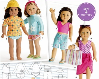 American Girl Doll Clothes Pattern, 18 inch American Girl Beach Wear Pattern, Simplicity Sewing Pattern 8190