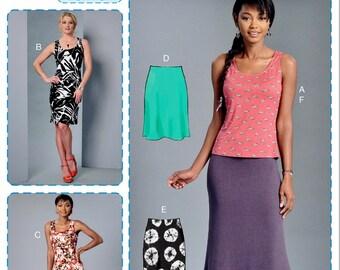 Learn to Sew Dress Pattern, Maxie Dress Pattern, Knit Tank Top Pattern, Easy Skirt Pattern, Long Skirt Pattern, McCall's Sewing Pattern 7386