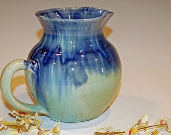 Pottery Pitcher, Blue and Green, Kitchen and Dining, Large Ceramic Pitcher, Drink and Barware, Pitchers, Drinkware, Ceramics and Pottery