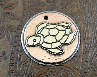 Custom Brass Turtle, Dog ID Tag, Pet ID Tag, Personalized Heart ID Tag, Dog tag for Dogs