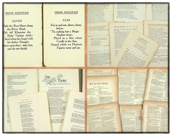 Vintage paper pack, 25 pcs, Shakespeare plays, old poems, vintage and antique book pages, art and craft paper, collage pack, grungy paper.