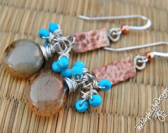 Turquoise and Chalcedony earrings, ThePurpleLilyDesigns