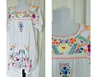 Vintage cotton ethnic boho hippie mini dress