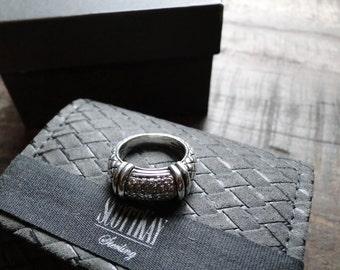 Vintage Sterling Silver Scott Kay Equestrian Basketweave .25ctw Diamond Ring Size 5.5