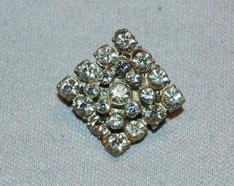 Vintage / Clear / Sparkling / Rhinestone / Brooch / Silver Tone / Old jewelry jewellery