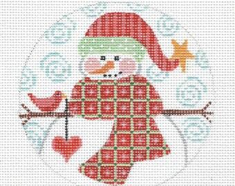 "4"" Round Snowman CHD41 Hand Painted Needlepoint Canvas"