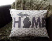 Michigan HOME pillow cover/silver Michigan
