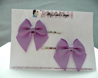 nhp-Lavendar Bow Hair Pins