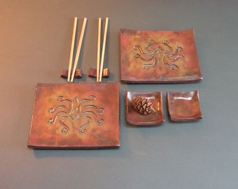 Stoneware Sushi Dishes with Ancient Greek Octopus Design, Glazed in Luminous Shades of Copper and Gold, Teak Chopsticks