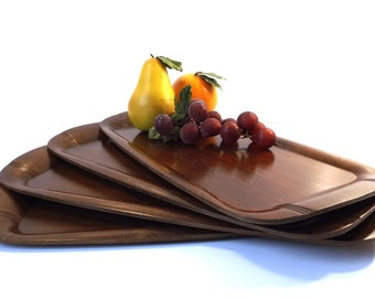 vintage 40s 50s hospitality lap trays set of 4 dark brown wood toastmaster serving entertaining kitchen mid century modern retro classic old