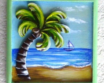 Palm Tree with Sail Boat Beach Scene Plaque