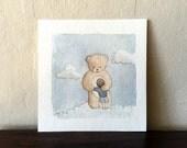 Bear Hug - Original Watercolor Painting