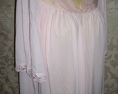 Vintage Shadowline pale pink nylon and lace nightgown and Robe Set