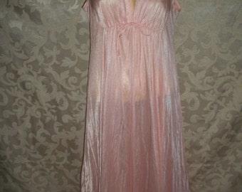 Vintage  Long Pale Peach Nylon Nightgown By Elise Stevens