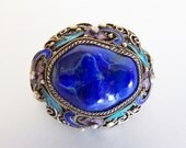 Gorgeous 1930's Chinese Export Lapis Lazuli Enamel Silver Brooch