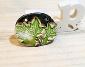 made to order ceramic pendant  vintage boho romantic leaves -  poppy in the sky hig fired jewel - automn green brown