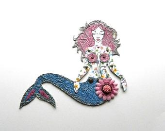 Mermaid Paper Doll, Art Doll, Pink & Blue Doll, Mermaid, Articulated Paper Doll, Mermaid Gift, Jointed Mermaid Paper Doll, Jointed Mermaid