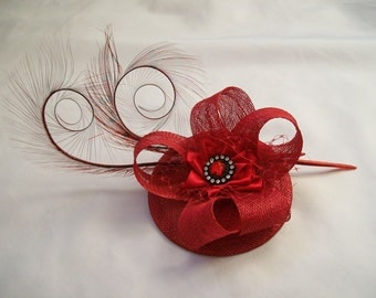 Poppy Red Pheasant Curl Feather Sinamay & Rhinestone Pearl Wedding Fascinator Mini Hat -  Made to Order