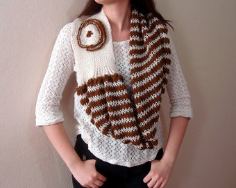 Hand knit infinity scarf Shrug Wrap with Flower Chunky Coffee and cream striped Oversized Wool Infinity Hood