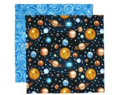 Kids Fabric Napkin, Cloth Lunch Napkin, Kids Lunchbox Napkin, Outer Space, 1 double sided fabric napkin for kids