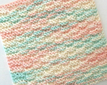 Knit Washcloth, Cotton Washcloth, Face Cloth, Facial Washcloth, Peach and Aqua Pastel Washcloth