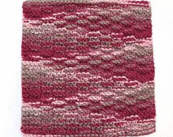 Cotton Knit Dishcloth Knitted Washcloth Burgundy Kitchen Decor