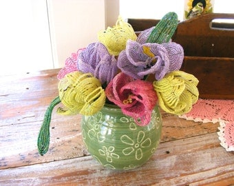 French Beaded Flowers, 3 Vintage Pastel Seed Bead Flower Bouquets Purple Yellow Pink Flowers