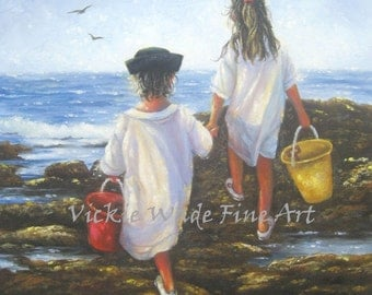 Beach Children ORIGINAL Painting 12X16, two children ocean, two sisters, two beach girls painting, shelling, children by sea,Vickie Wade Art