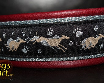 "Dog Collar ""Greyhound"" by dogs-art, greyhound collar, martingale collar, leather dog collar, whippet collar, leather slip collar, collar"