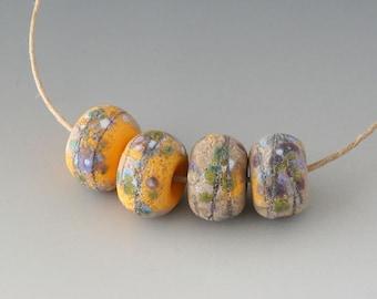 Rustic Sedona Nuggets- (4) Handmade Lampwork Beads -  Sage, Apricot