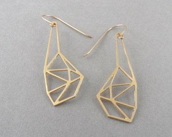 geometric earrings, geometric jewelry, faceted earrings