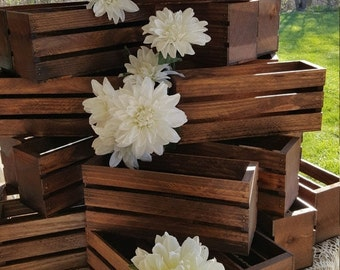ON SALE wedding centerpiece flower planter box , wooden crates , Rustic wood crates , table centerpiece , flower vases , wedding decorations