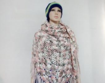 Crochet shawl in multiple soft pink