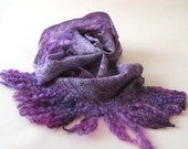 Scarf Cobweb Felted scarf, Magenta stole, Purple shawl, felt shawl , felt scarf wool shawl Wedding Airy scarf by Galafilc