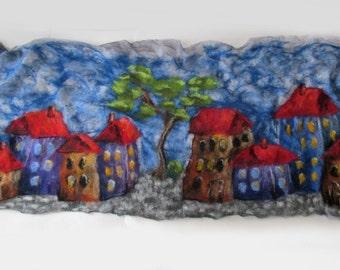 Nuno felted scarf,  House street town city urban Grey Blue  Women shawl Spring scarf Summer scarf plus size shawl