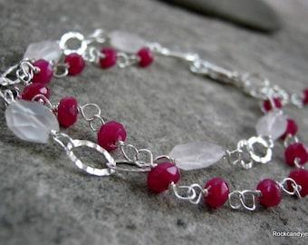 Olivia......Sterling Silver multi strand Genuine Ruby and Rose Quartz Gemstone bracelet