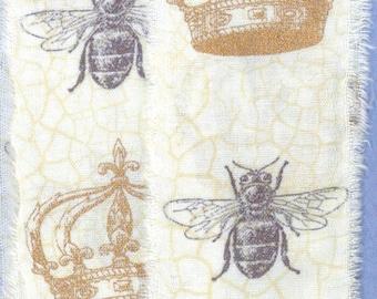 hand made torn ribbon ,princess crown french bee natural cotton muslin gift wrap home decor paris apt 1326 51