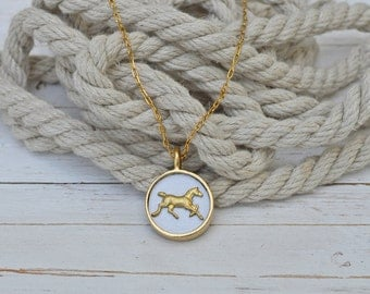Women's Preppy Equestrian White Leather Gold Horse Charm Circle Pendant
