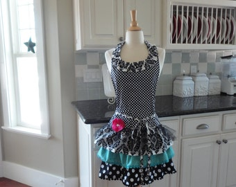 Ruffles and Ruffles ~ Sophia Style ~ 4RetroSisters ~ ONE OF A KIND ~ Women's Retro Modern Full Apron