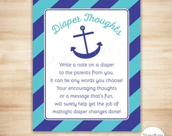 Anchor Diaper Thoughts Game - Late Night Diaper Game - Nautical Boy Baby Shower Game - Navy, Turquoise Stripes - PRINTABLE, INSTANT DOWNLOAD