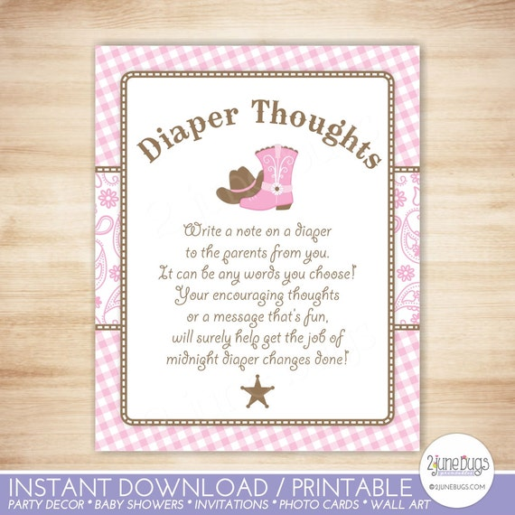 Cowgirl Diaper Thoughts Game