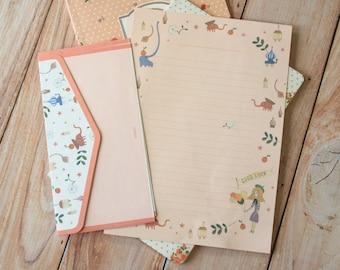 Elephants Indigo cartoon writing paper & envelopes letter set