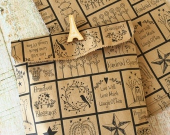 Primitive Blessings Kraft Brown paper bags 20pcs