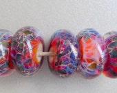 "Destash Handmade lampwork glass artisan bead set by Lori Lochner ""Plump Persimmon Boro Set"""