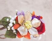 flower crown, wedding headpiece, bridal headband, woodland wedding, pine cone rose headpiece