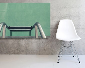 Large Canvas  Mid Century Pool Ladder   Gallery Wrapped Canvas