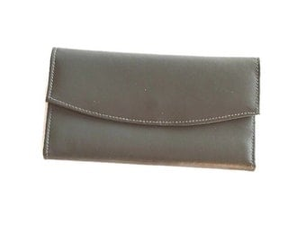 Vintage Gray Leather Wallet, New Old Stock