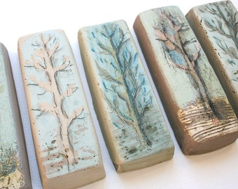 Five hand made decorative tiles with tree motif. Hand painted, monotype, engobes, underglazes, orchard, multiples