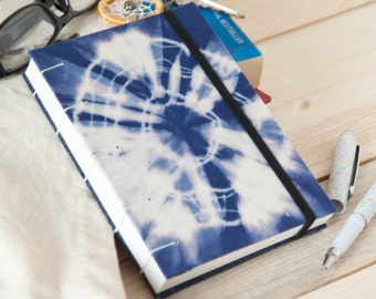 Yoga Journal - Hand Bound Journal with 144 Unlined Pages and Tie Dye Fabric Cover