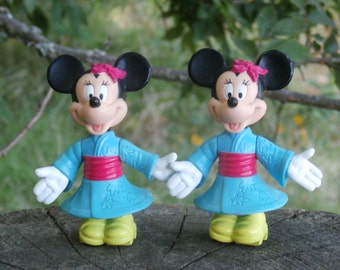 2 Minnie Mouse in Kimono Figures, Vintage 1993 McDonalds Happy Meal Toy, Epcot Center Disney, Lot of 2